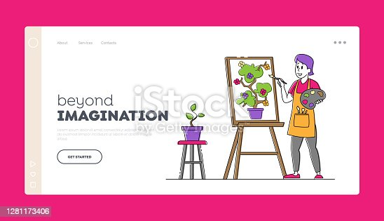 istock Creative Hobby, Drawing Art Class, Workshop Landing Page Template. Artist Female Character with Paints and Brush in Hand 1281173406