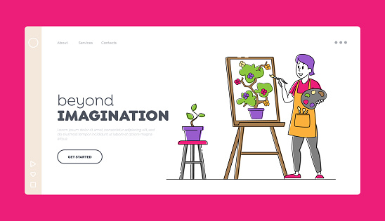 Creative Hobby, Drawing Art Class, Workshop Landing Page Template. Artist Female Character with Paints and Brush in Hand