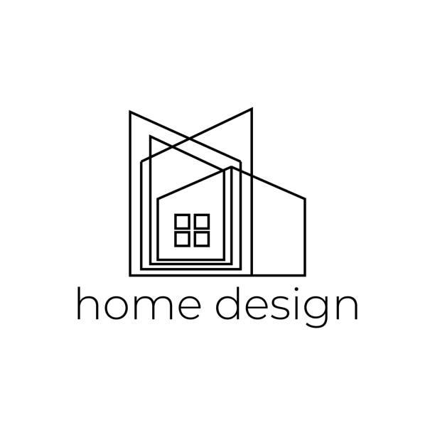 ilustraciones, imágenes clip art, dibujos animados e iconos de stock de logo de diseño creativo para el hogar con la línea abstracta - arquitecto