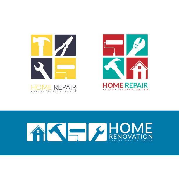 creative home repair concept, logo design template isolated on white background with space for your company text creative home repair concept, logo design template isolated on white background with space for your company text renovation stock illustrations