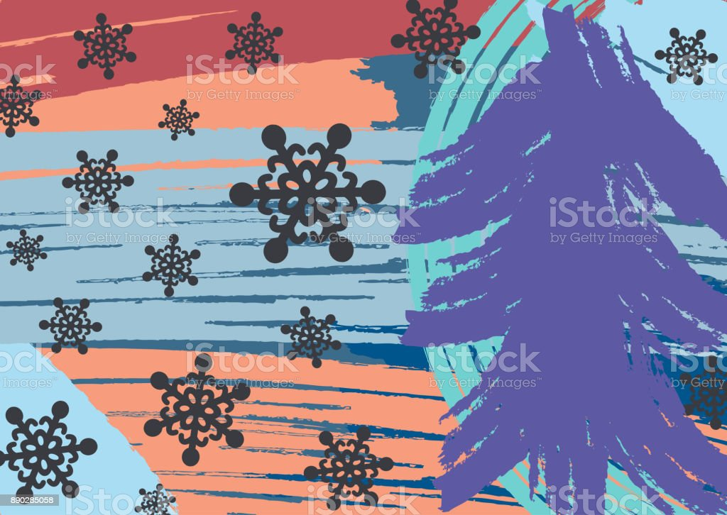 Creative horizontal New Year background. Drawn by hand with brush. Grunge, graffiti, sketch, watercolor, paint. vector art illustration