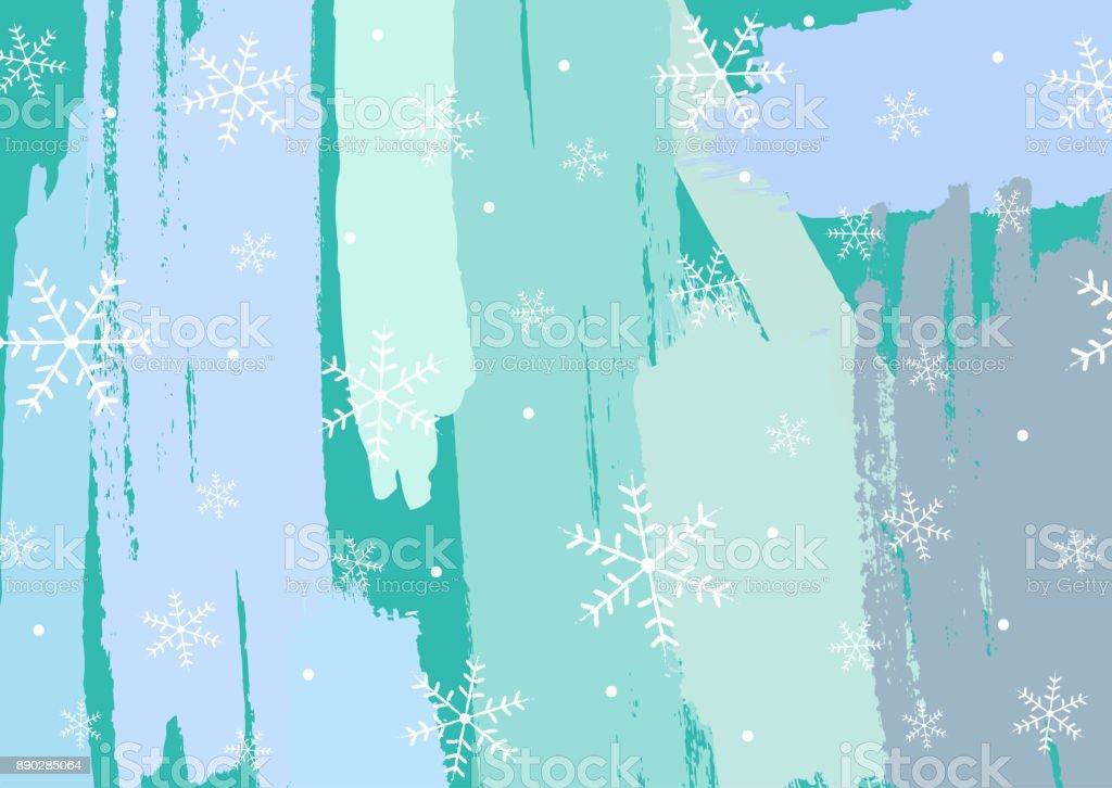 Creative horizontal New Year background. Grunge, graffiti, sketch, watercolour, paint, brush strokes. White, blue, turquoise. vector art illustration