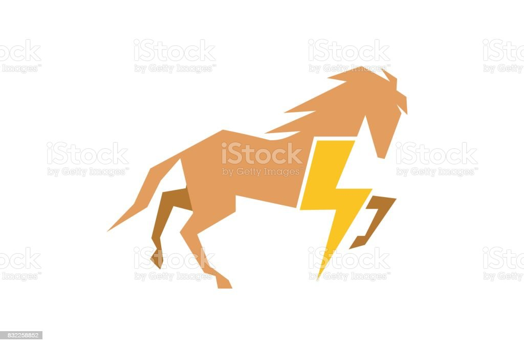 Creative Horse Flash Symbol Design Stock Vector Art More Images Of