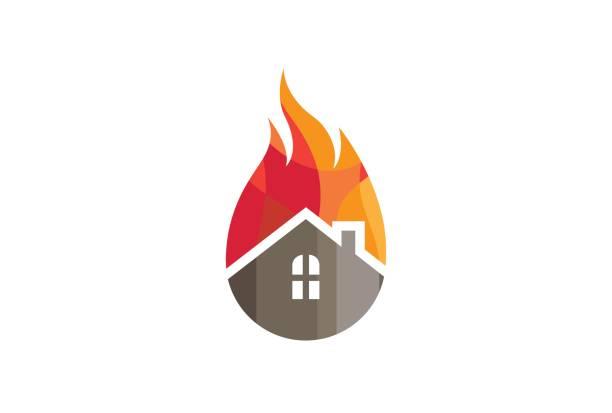 bildbanksillustrationer, clip art samt tecknat material och ikoner med kreativa hus brand design - house after fire