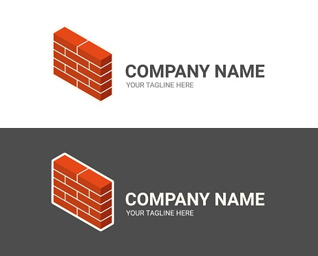 Creative icon concept for a construction or trading company. Modern vector logo template isolated on white and black background. Isometric illustration of new red brick wall. Flat style. 3D.