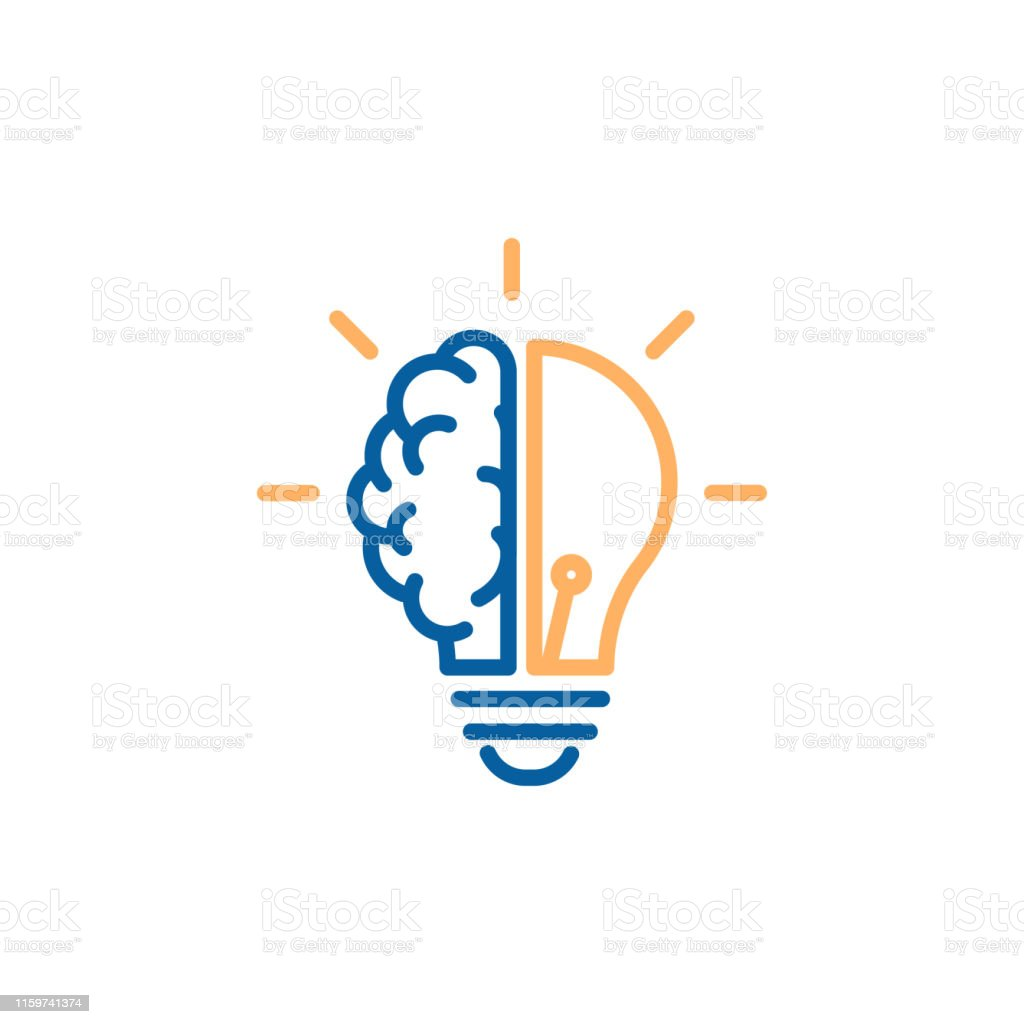 Creative icon of a half brain half lightbulb representing ideas, creativity, knowledge, technology and the human mind. Solving problems concept thin line illustration - Векторная графика Абстрактный роялти-фри