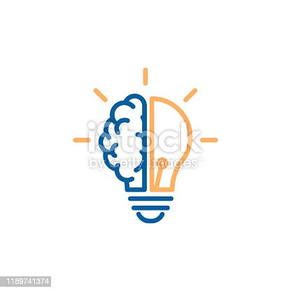istock Creative icon of a half brain half lightbulb representing ideas, creativity, knowledge, technology and the human mind. Solving problems concept thin line illustration 1159741374
