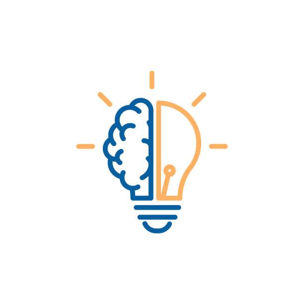ilustraciones, imágenes clip art, dibujos animados e iconos de stock de icono creativo de media bombilla de medio cerebro que representa las ideas, la creatividad, el conocimiento, la tecnología y la mente humana. resolver problemas concepto ilustración de línea delgada - brain