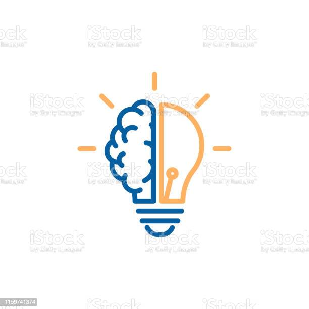 Creative Icon Of A Half Brain Half Lightbulb Representing Ideas Creativity Knowledge Technology And The Human Mind Solving Problems Concept Thin Line Illustration — стоковая векторная графика и другие изображения на тему Абстрактный