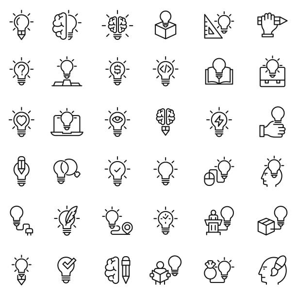 yaratıcı icon set - intelligence stock illustrations