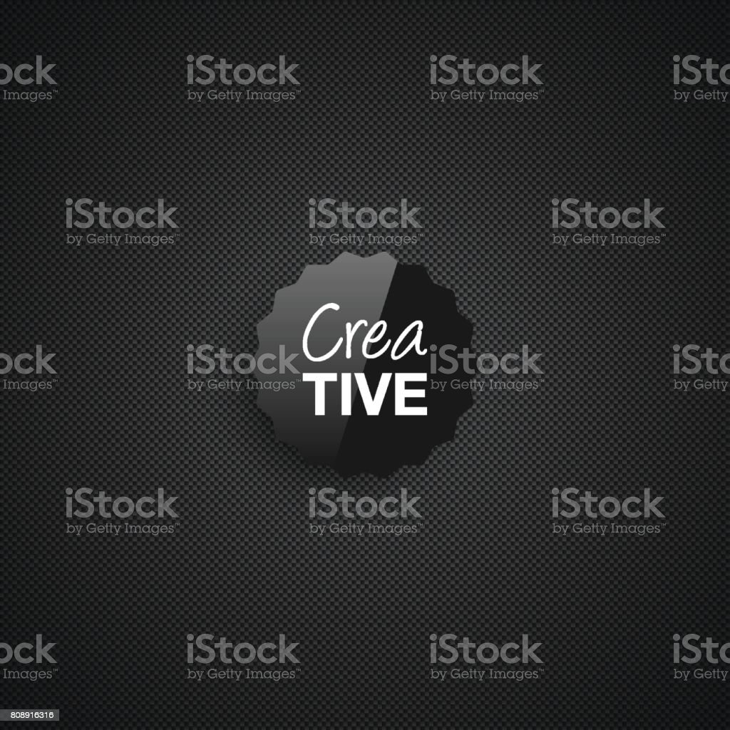 Creative icon template on carbon fiber background vector art illustration