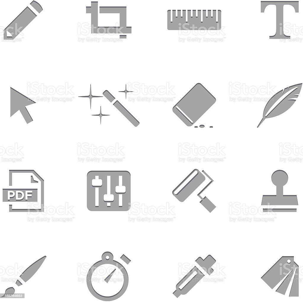 Creative Icons  | Letterpress Series vector art illustration