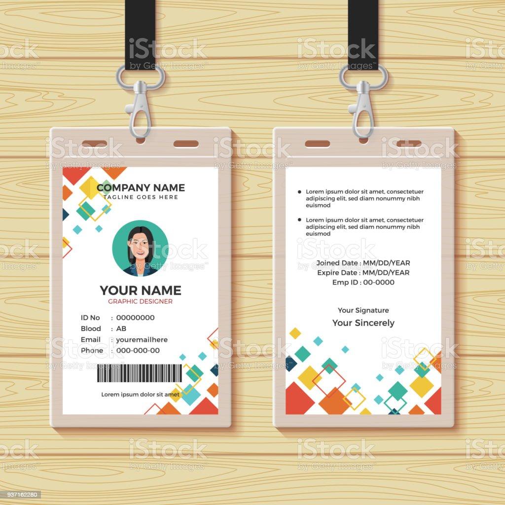 Plantilla De Diseño Creativo Tarjeta De Identificación - Arte ...