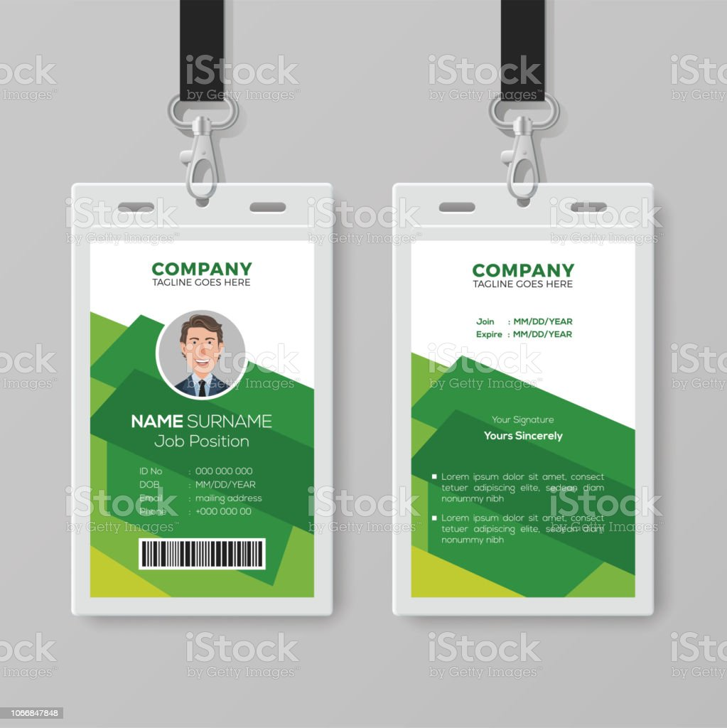 creative id card template with abstract green background stock