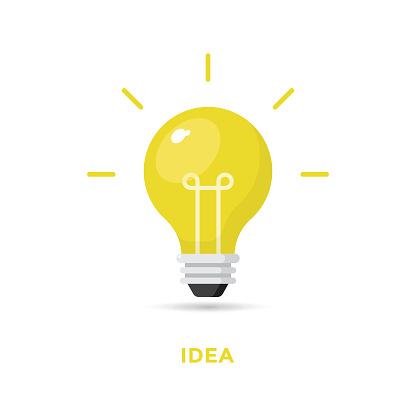 Creative Idea and Bulb Icon Flat Design.