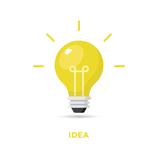 Creative Idea and Bulb Icon Flat Design. Vector Illustration EPS 10 File. light bulb stock illustrations
