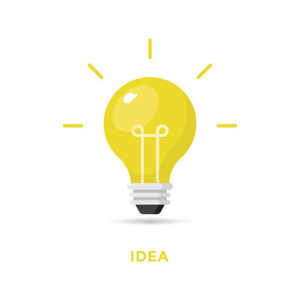 kreative idee und glühbirne icon flat design. - glühbirne stock-grafiken, -clipart, -cartoons und -symbole