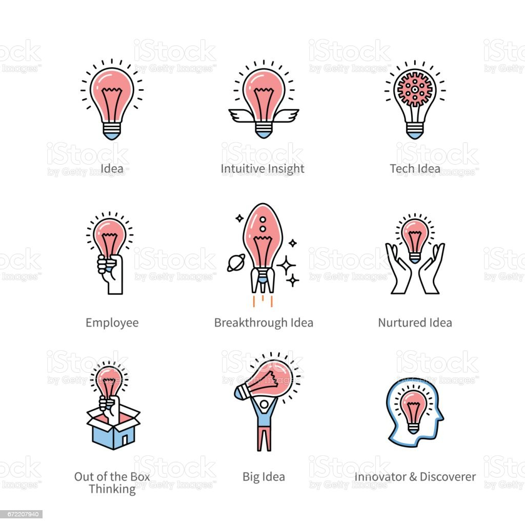 Creative idea and business innovation symbols vector art illustration