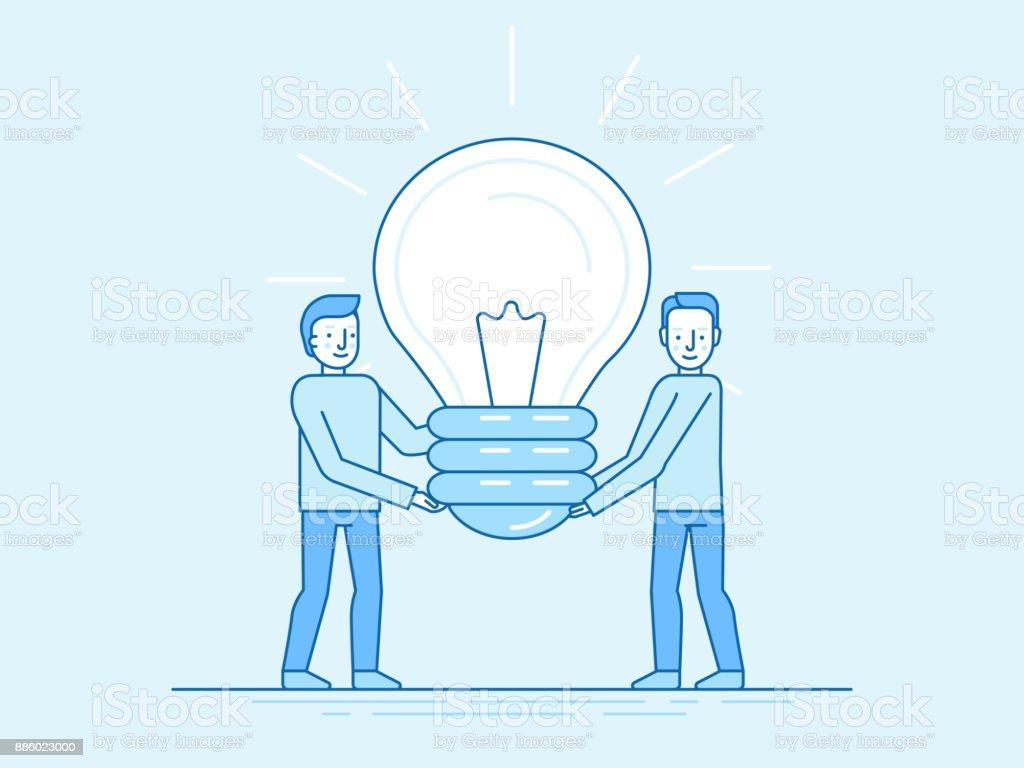 Creative idea and teamwork vector art illustration