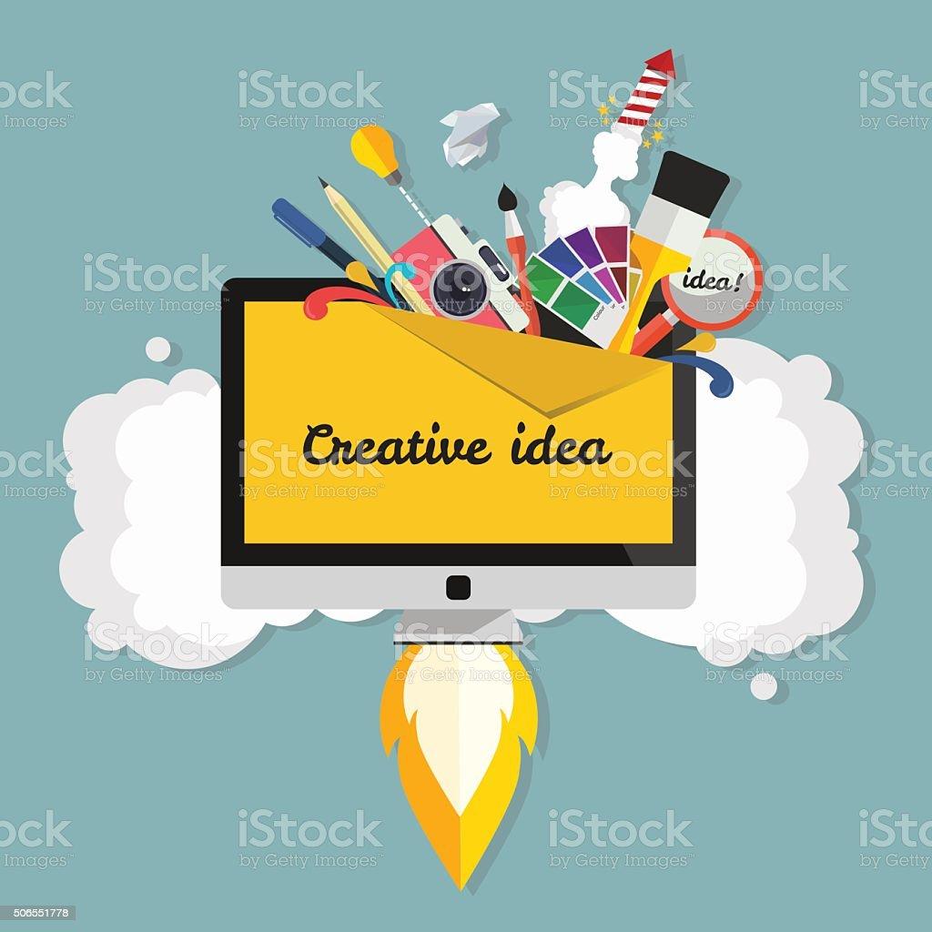 Ilustración de Idea Creativa Gran Idea Arranque Concepto De ...