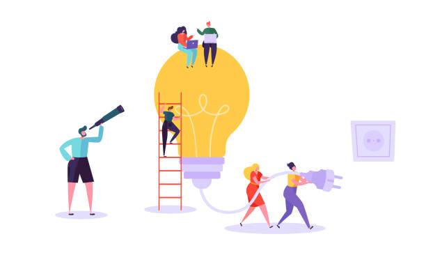 illustrazioni stock, clip art, cartoni animati e icone di tendenza di creative idea brainstorming concept. business characters working together with big light bulb. searching for solutions, innovation. vector illustration - ispirazione