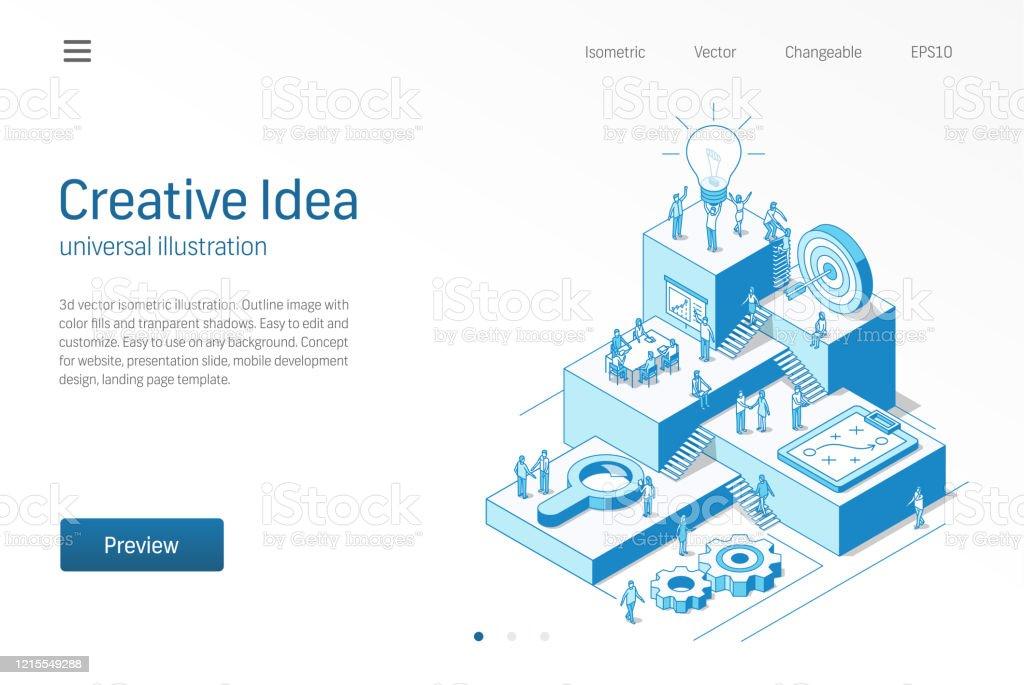 Kreative Idee. Business-Mitarbeiter Büro-Teamarbeit. Innovative moderne isometrische Linienillustration. Brainstorming-Prozess, inspirieren, Star-up-Strategie-Symbol. Wachstumsschritt Infografik-Konzept - Lizenzfrei Arbeiten Vektorgrafik