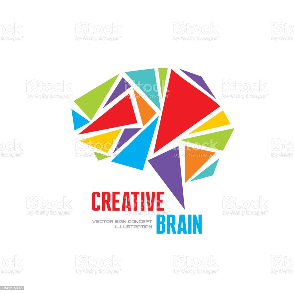 Creative idea - business vector logo template concept illustration. Abstract human brain creative sign. vector art illustration
