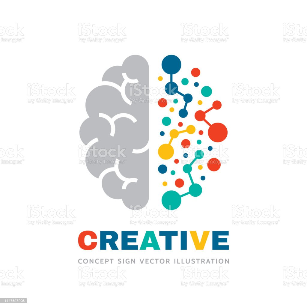 Creative idea - business vector sign concept illustration. Abstract human brain sign. Geometric colored structure. Mind education symbol. Left and right hemisphere. Graphic design element. - Векторная графика Абстрактный роялти-фри