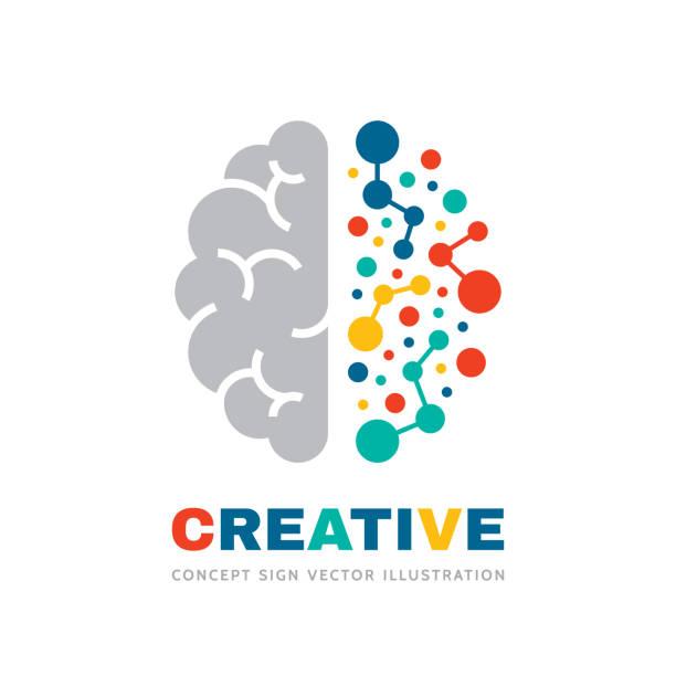 ilustraciones, imágenes clip art, dibujos animados e iconos de stock de idea creativa-ilustración del concepto de signo de vector empresarial. signo cerebral humano abstracto. estructura de color geométrico. símbolo de educación mental. hemisferio izquierdo y derecho. elemento de diseño gráfico. - brain