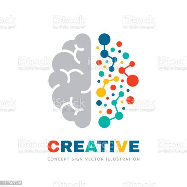 Creative Idea Business Vector Sign Concept Illustration Abstract Human Brain Sign Geometric Colored Structure Mind Education Symbol Left And Right Hemisphere Graphic Design Element — стоковая векторная графика и другие изображения на тему Абстрактный