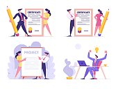 Creative Idea, Certificate and Project Signing Set. Business People Holding Paper Document, Businessman Sitting at Desk Rejoice with Glowing Light Bulb above Head. Cartoon Flat Vector Illustration
