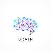 Creative idea concept design brain logotype vector icon. Artificial intelligence brain logo concept.