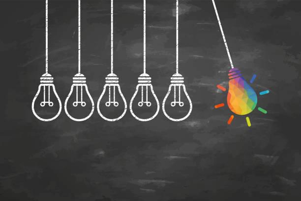 kreative ideenkonzepte mit glühbirne auf blackboard-hintergrund - innovation stock-grafiken, -clipart, -cartoons und -symbole