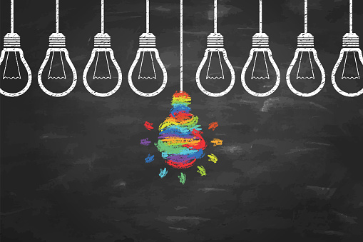 Creative Idea Concepts with Light Bulb on Chalkboard Background