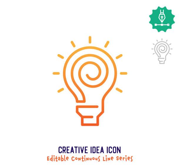 ilustrações, clipart, desenhos animados e ícones de ícone editável da linha contínua da creative idea - entrepreneurship