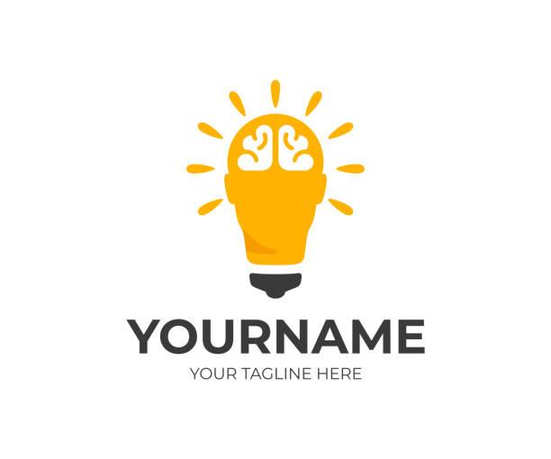 Creative idea, design. Human head as light bulb vector design. Smart human head with brain illustration Creative idea, design. Human head as light bulb vector design. Smart human head with brain illustration plant bulb stock illustrations