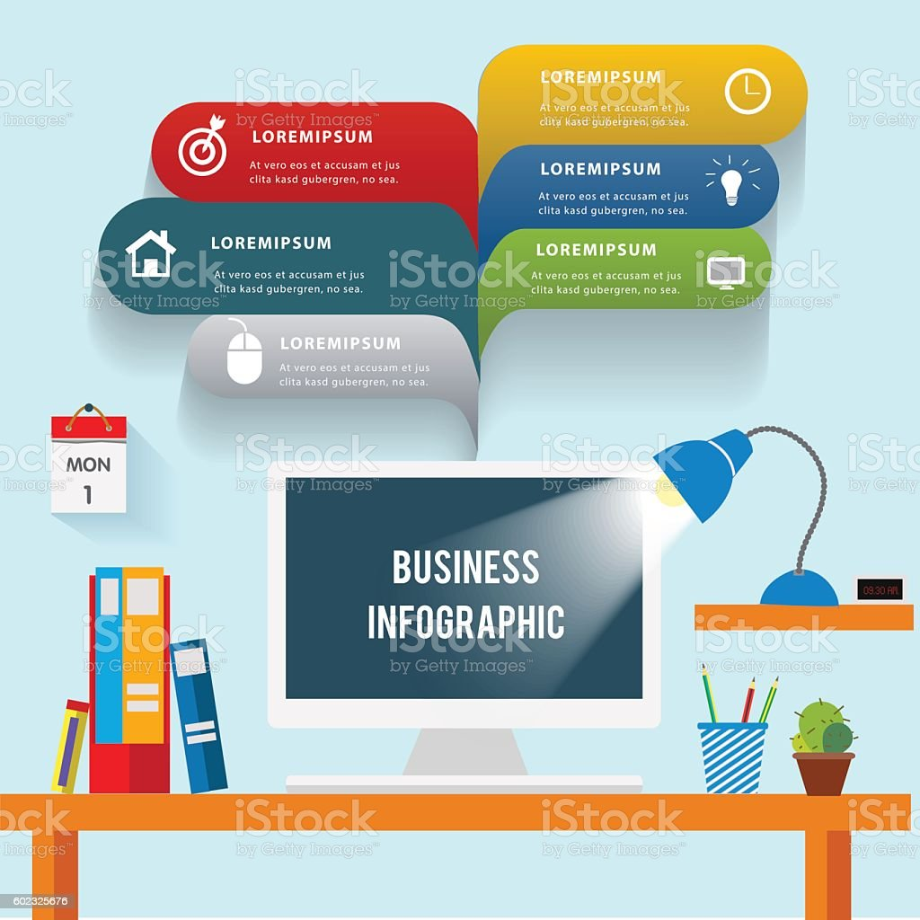 Creative Idea Desk In Office Stock Vector Art & More Images of ...