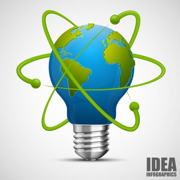 Terre de l'idée créative. Énergie verte. - Illustration vectorielle