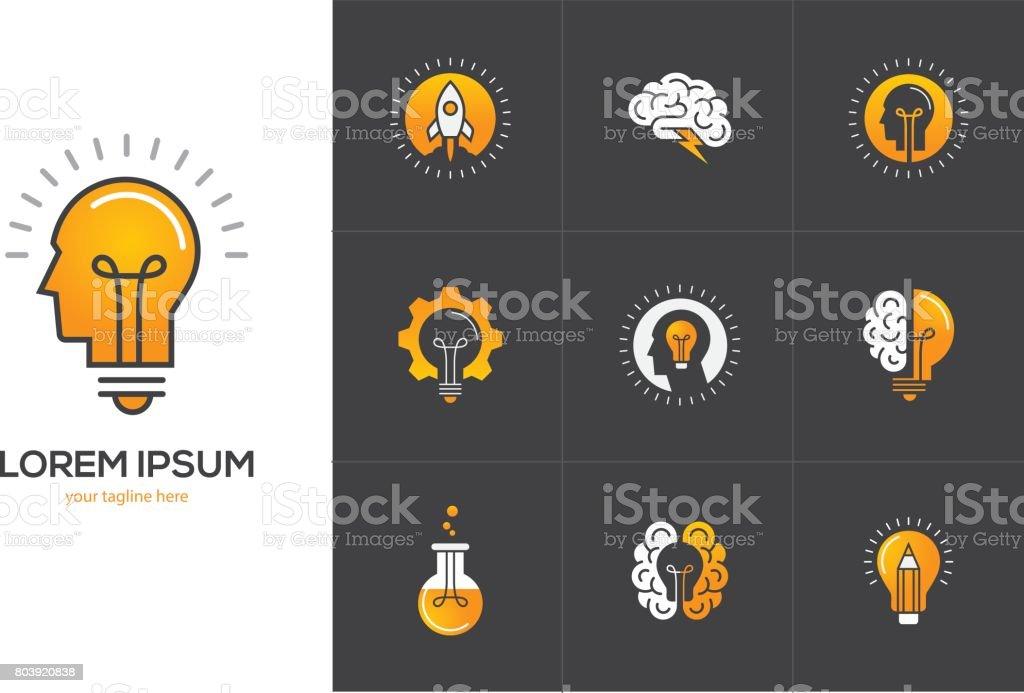 Creative idea icons set with human head, brain, light bulb.