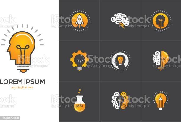 Creative idea icons set with human head brain light bulb vector id803920838?b=1&k=6&m=803920838&s=612x612&h=2rf5rxfihfwgcdcajo1jivgklp9g5ll8wl0 ahsrj2m=