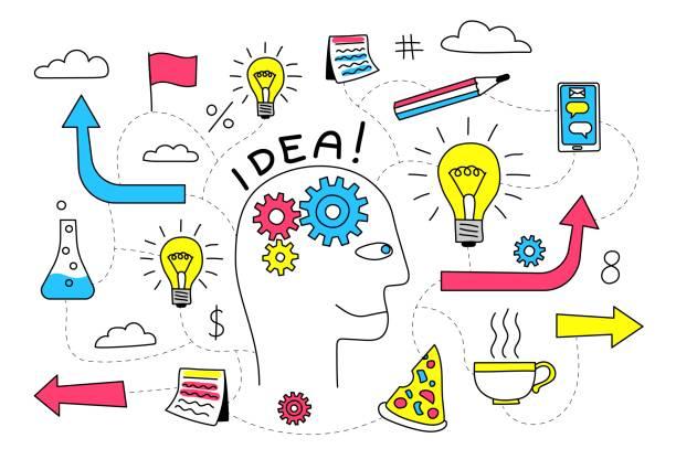 Bекторная иллюстрация Creative Idea in the head of a person is a doodle flowchart