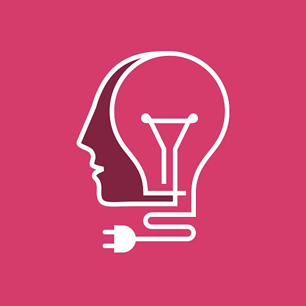 creative idea inspiration concept. - kopfleuchten stock-grafiken, -clipart, -cartoons und -symbole