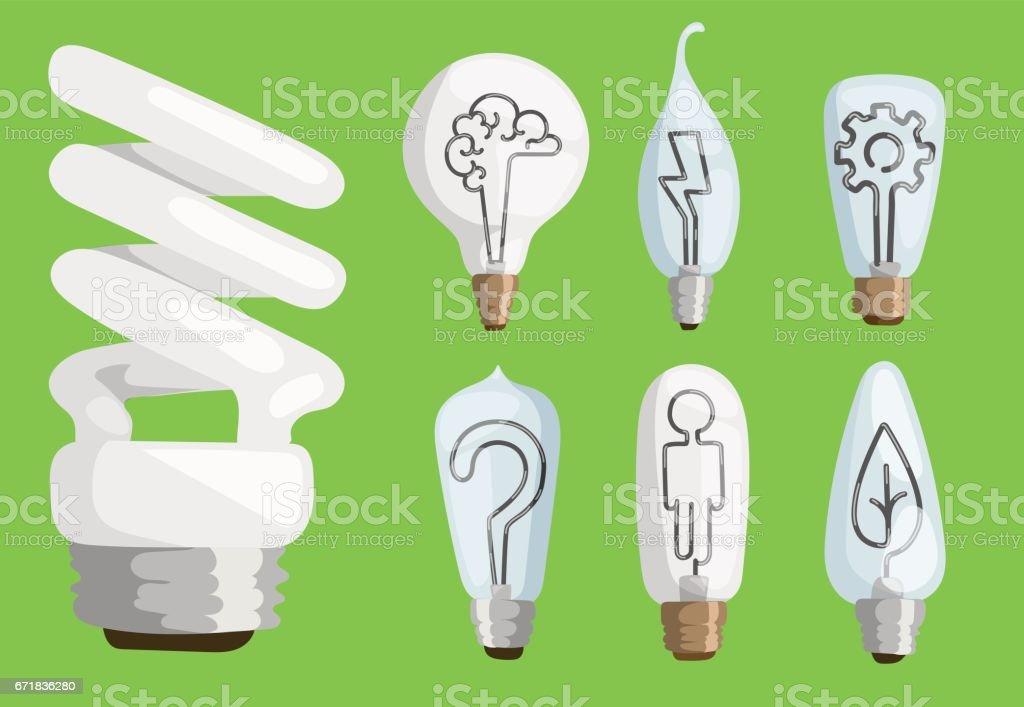 Kreative Idee Dass Lampen Flache Vektorillustrationset Cartoon ...