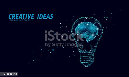 Creative idea light bulb night star sky. Low poly polygonal business brainstorm startup dark blue space modern geometric 3d lamp. Invention brain shape inspiration banner vector illustration art