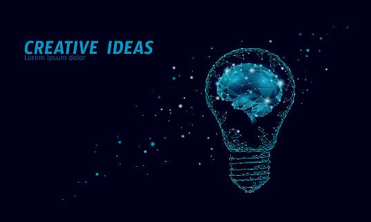 Creative idea light bulb night star sky. Low poly polygonal business brainstorm startup dark blue space modern geometric 3d lamp. Invention brain shape inspiration banner vector illustration