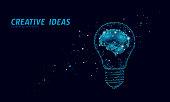 Creative idea light bulb night star sky. Low poly polygonal business brainstorm startup dark blue space modern geometric 3d lamp. Invention brain shape inspiration banner vector illustration art