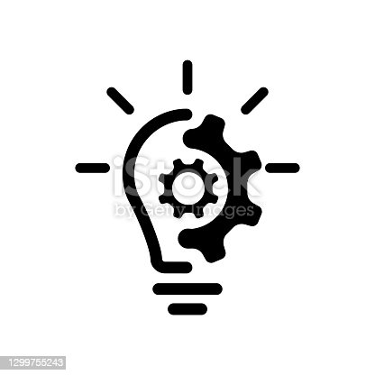 istock Creative idea line icon. Lump with gear icon. Brain in lightbulb vector illustration. Thin sign of innovation, solution, education logo. Vector EPS 10. Isolated on white background 1299755243
