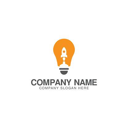 Creative idea rocket logo design vector template