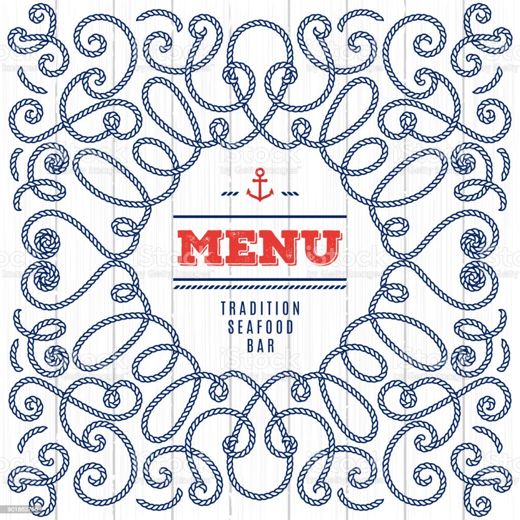 Creative Idea Seafood Menu Elegant Frame With Marine Rope Modern ...