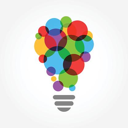 Creative idea vector design illustration, light bulb colorful concept